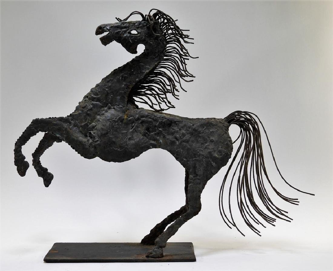 American Brutalist Welded Iron Sculpture of Horse
