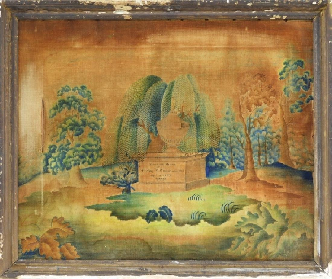 C.1825 Freeman Family Velvet Memorial Painting