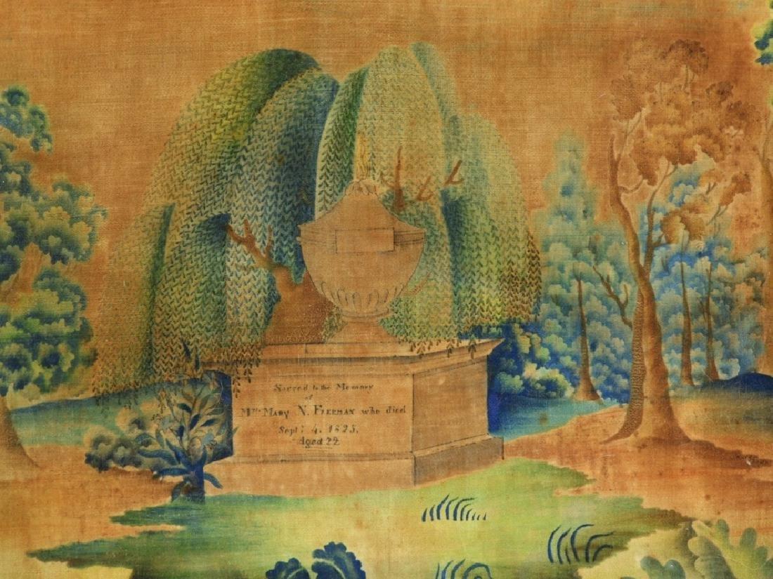 C.1825 Freeman Family Velvet Memorial Painting - 2