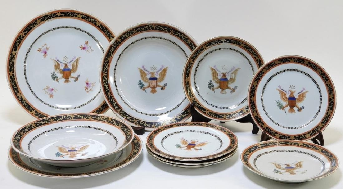 Chinese Export Armorial Porcelain Plate Bowl Group