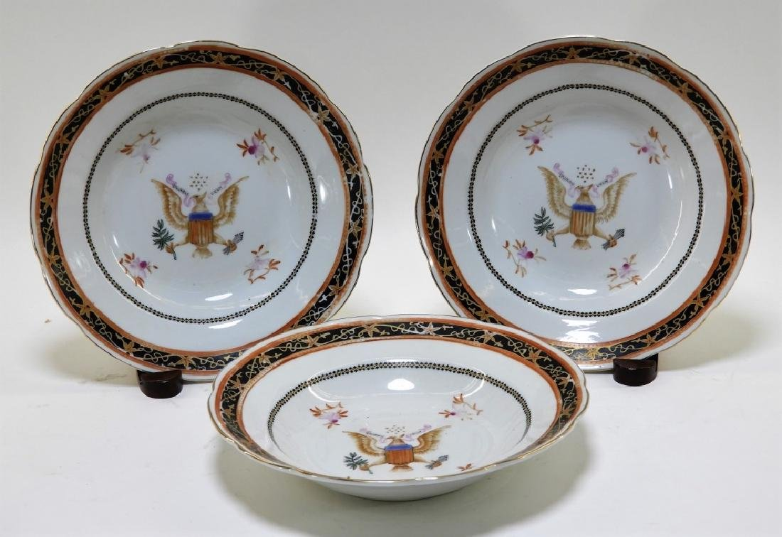 3PC Chinese Export American Armorial Bowls