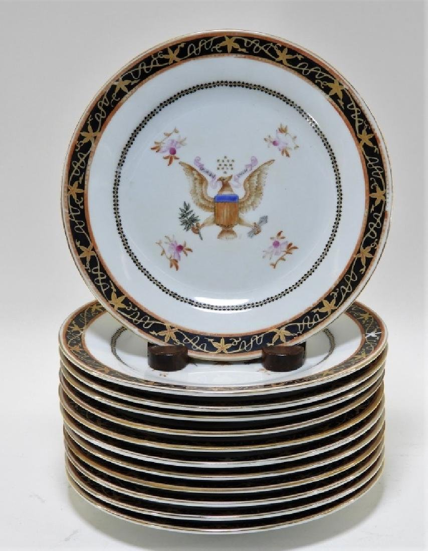 12 Chinese Export Porcelain Eagle Armorial Plates