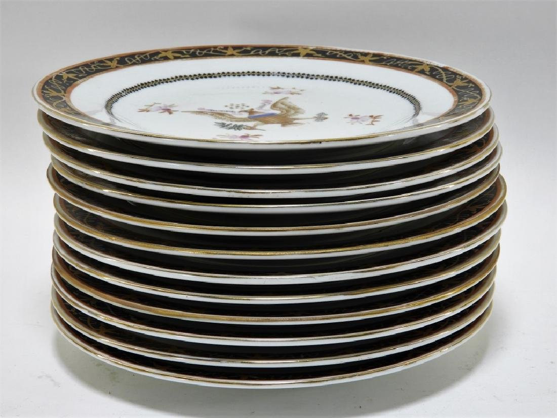 12 Chinese Export Porcelain Eagle Armorial Plates - 6
