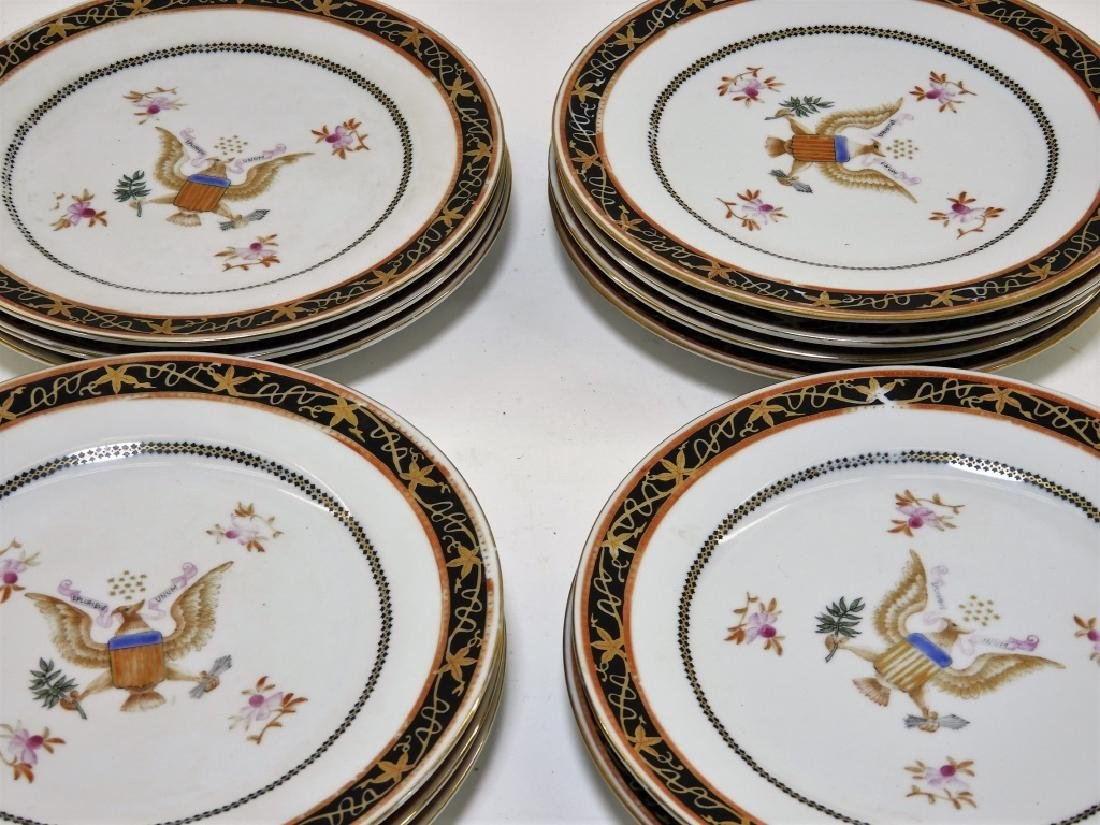 12 Chinese Export Porcelain Eagle Armorial Plates - 7