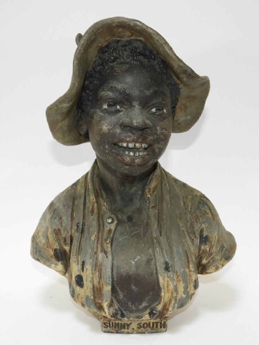 Aft. Guillemin Black Americana Spelter Figure Bust
