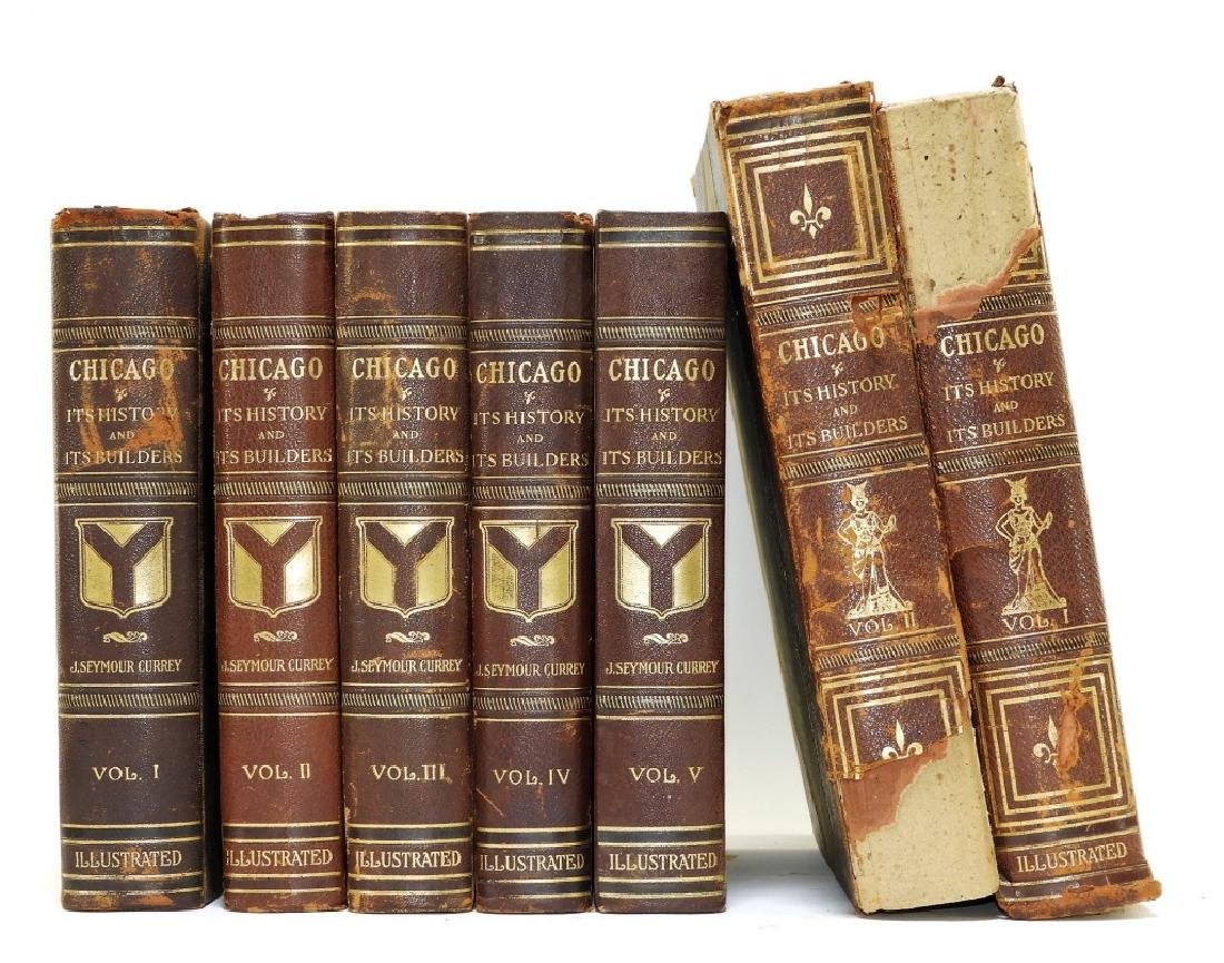 5Vol Antiquarian Leatherbound History of Chicago