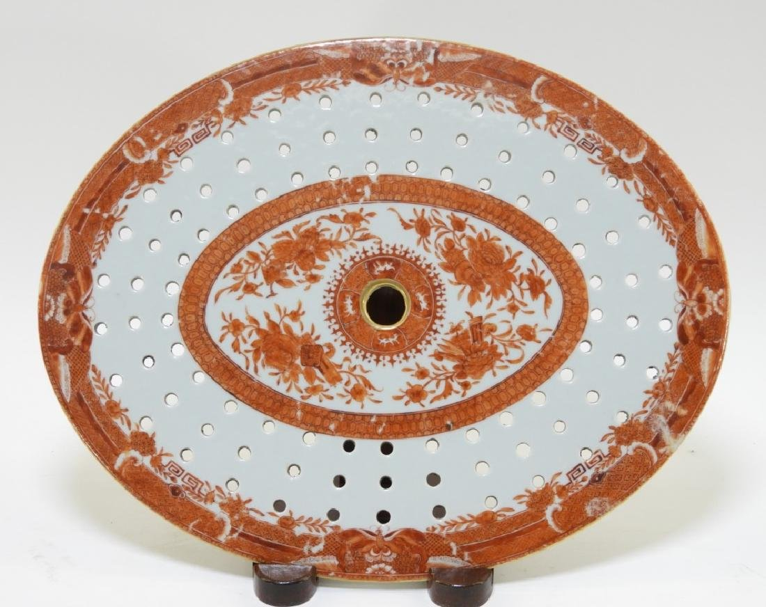 Chinese Orange Fitzhugh Porcelain Steamer Tray