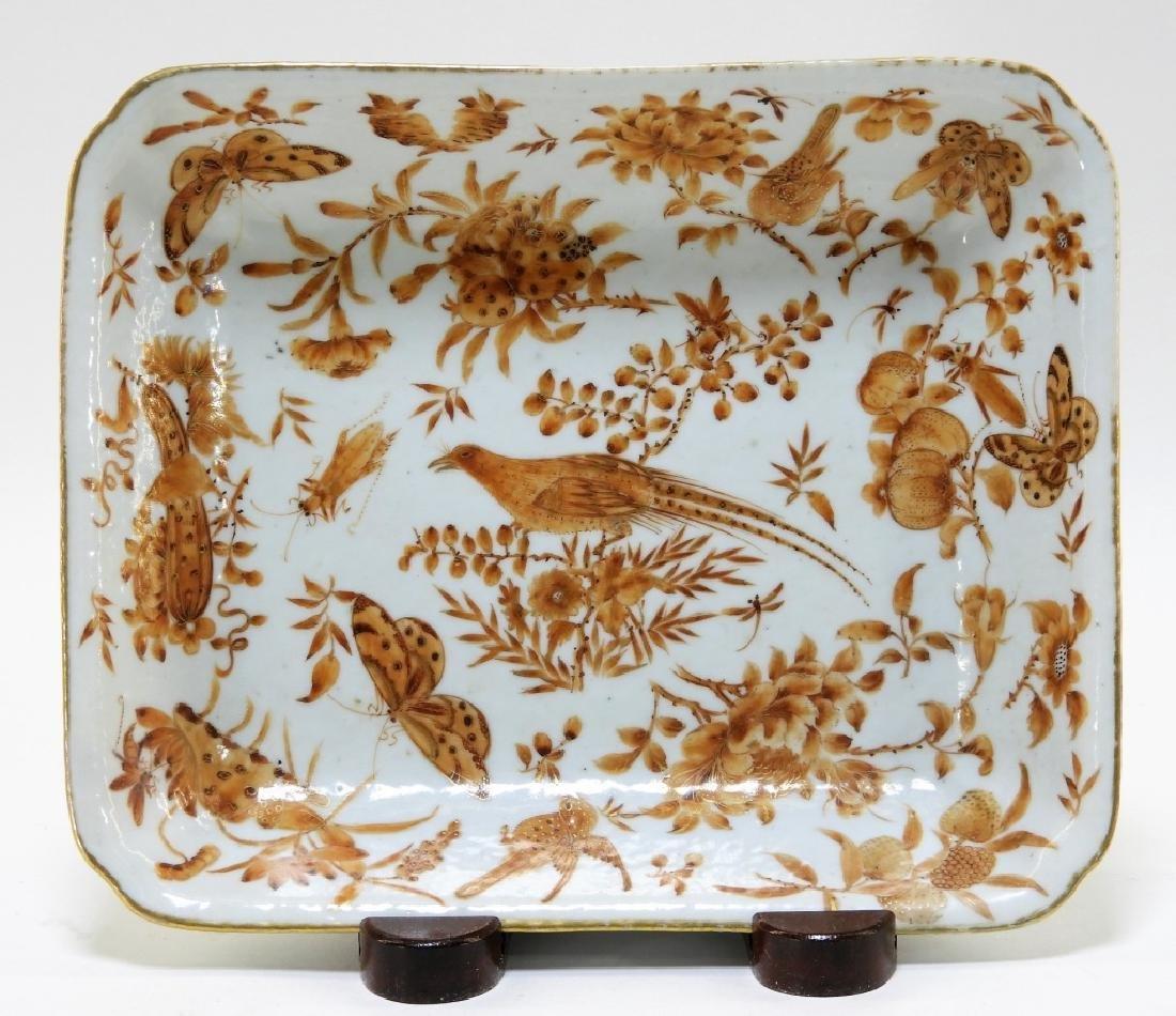 Chinese Export Sepia Porcelain Avian Bowl