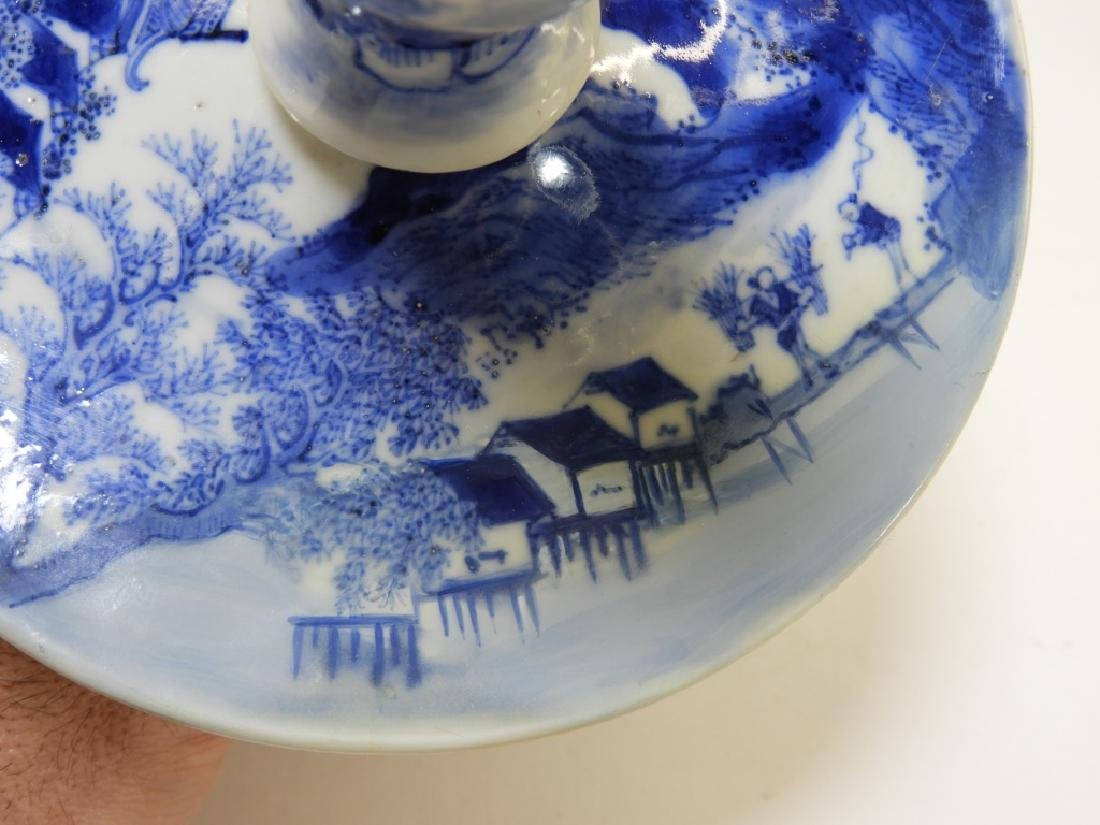 Chinese Kangxi Blue & White Porcelain Candlestick - 12