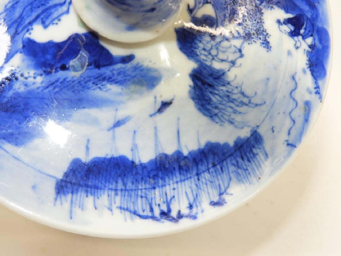 Chinese Kangxi Blue & White Porcelain Candlestick - 4