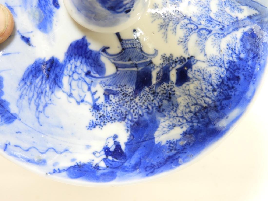 Chinese Kangxi Blue & White Porcelain Candlestick - 6