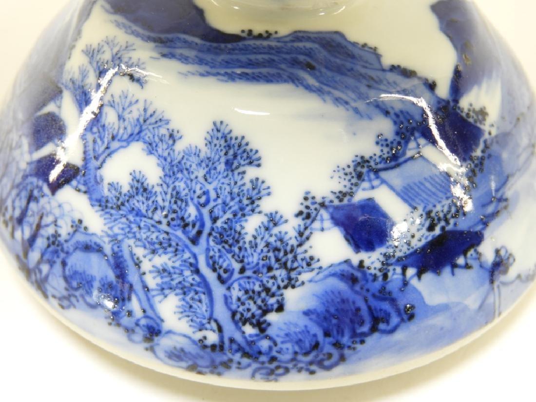 Chinese Kangxi Blue & White Porcelain Candlestick - 8