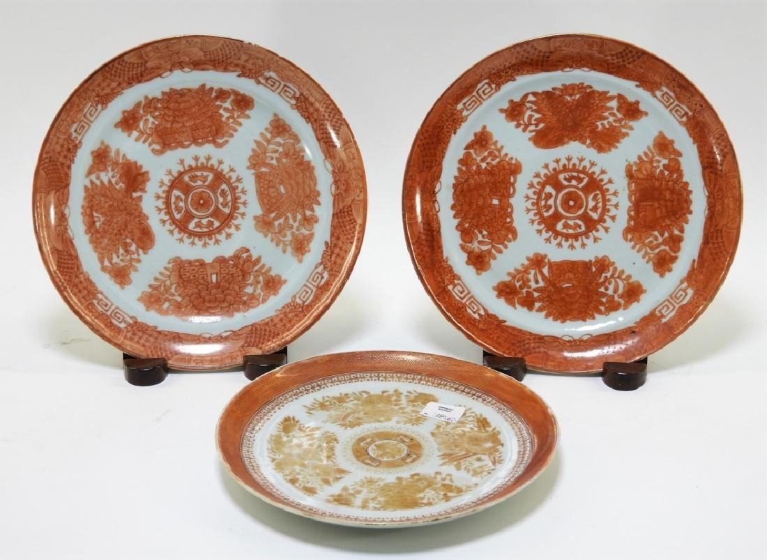 3 Chinese Orange Fitzhugh Export Porcelain Plates