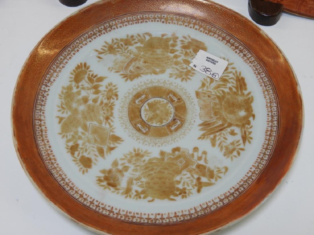 3 Chinese Orange Fitzhugh Export Porcelain Plates - 4