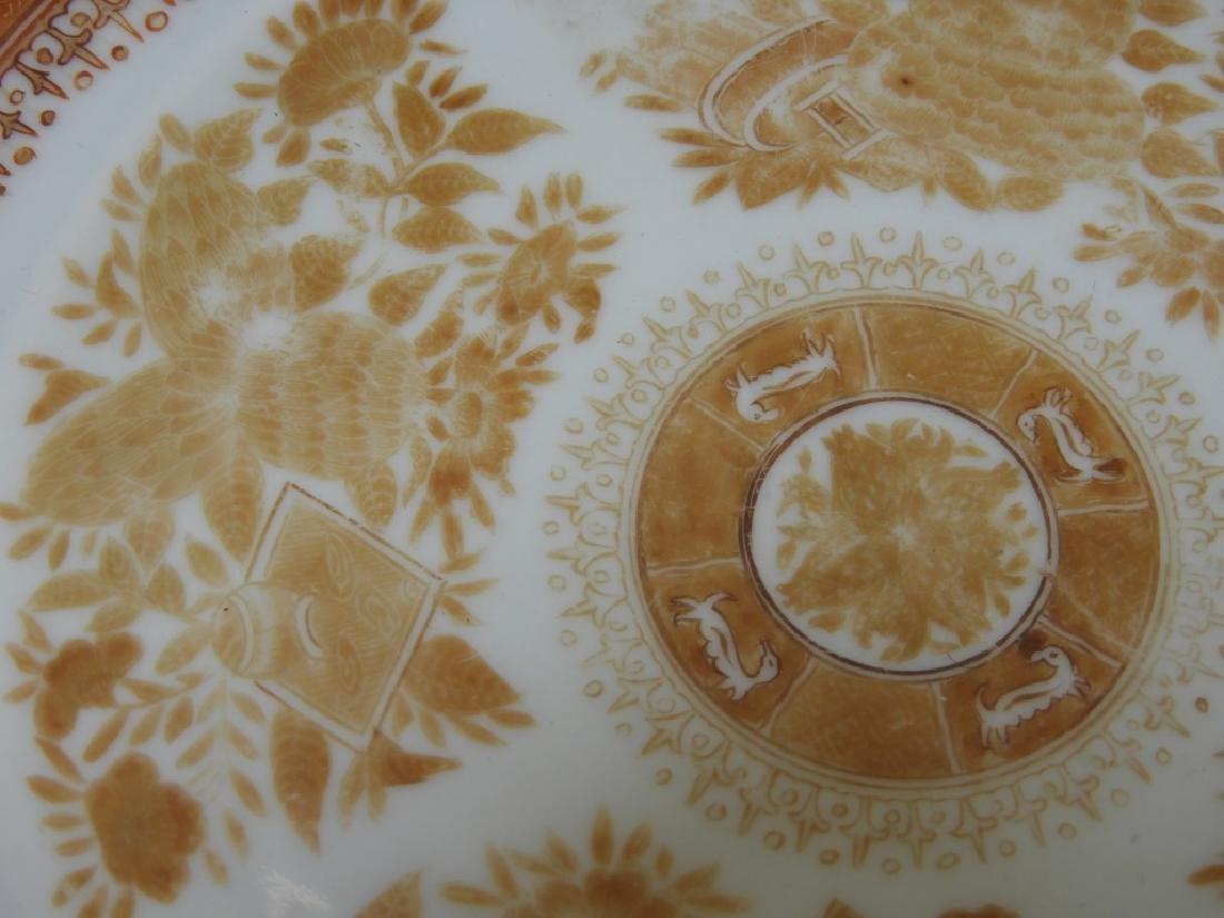 3 Chinese Orange Fitzhugh Export Porcelain Plates - 5