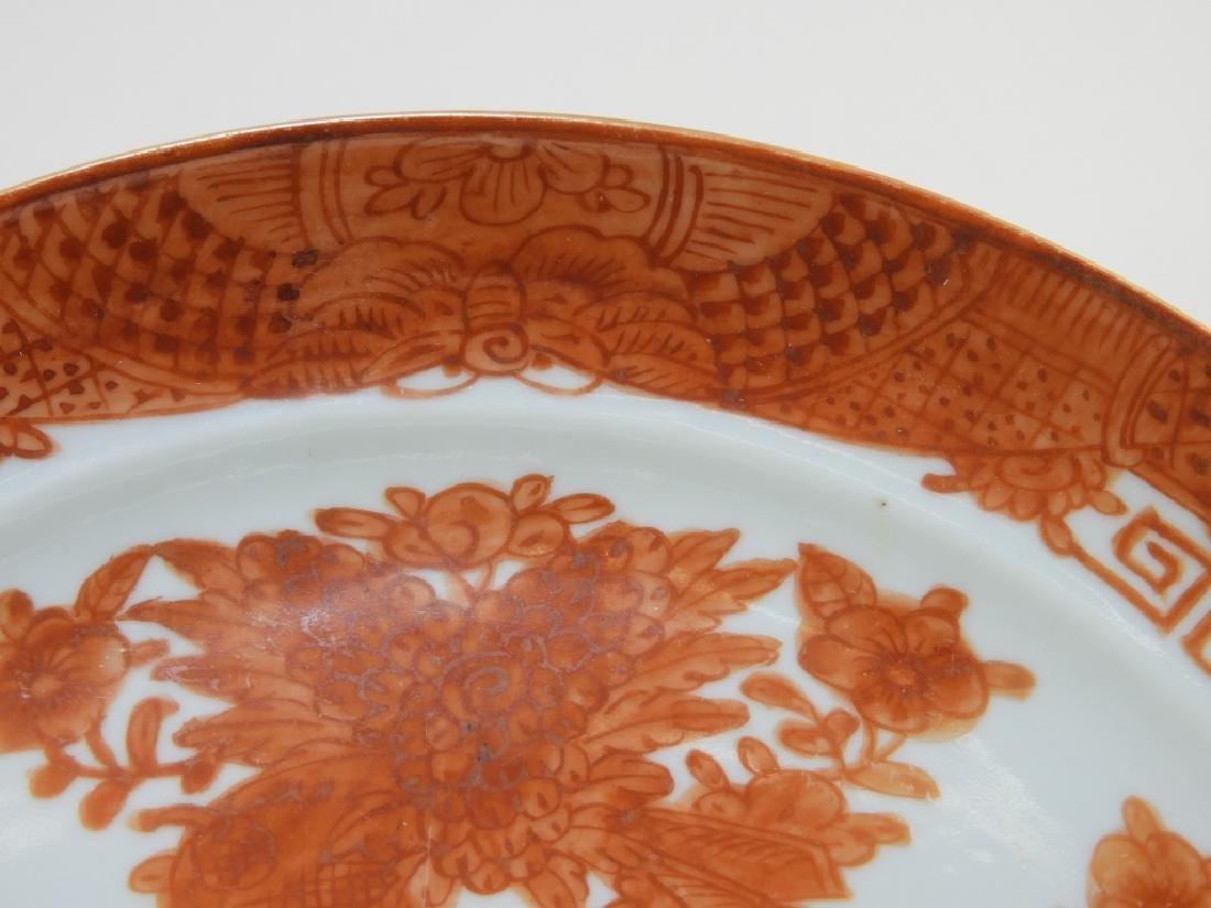 3 Chinese Orange Fitzhugh Export Porcelain Plates - 7
