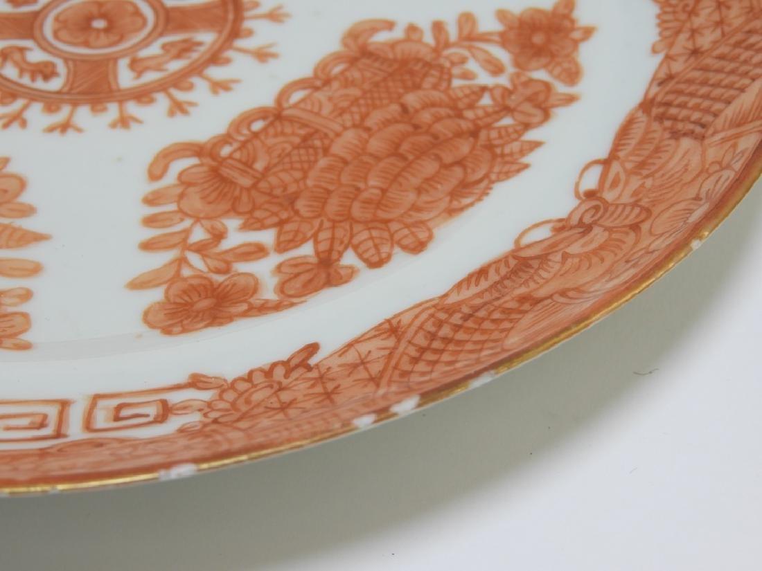 3 Chinese Orange Fitzhugh Export Porcelain Plates - 8