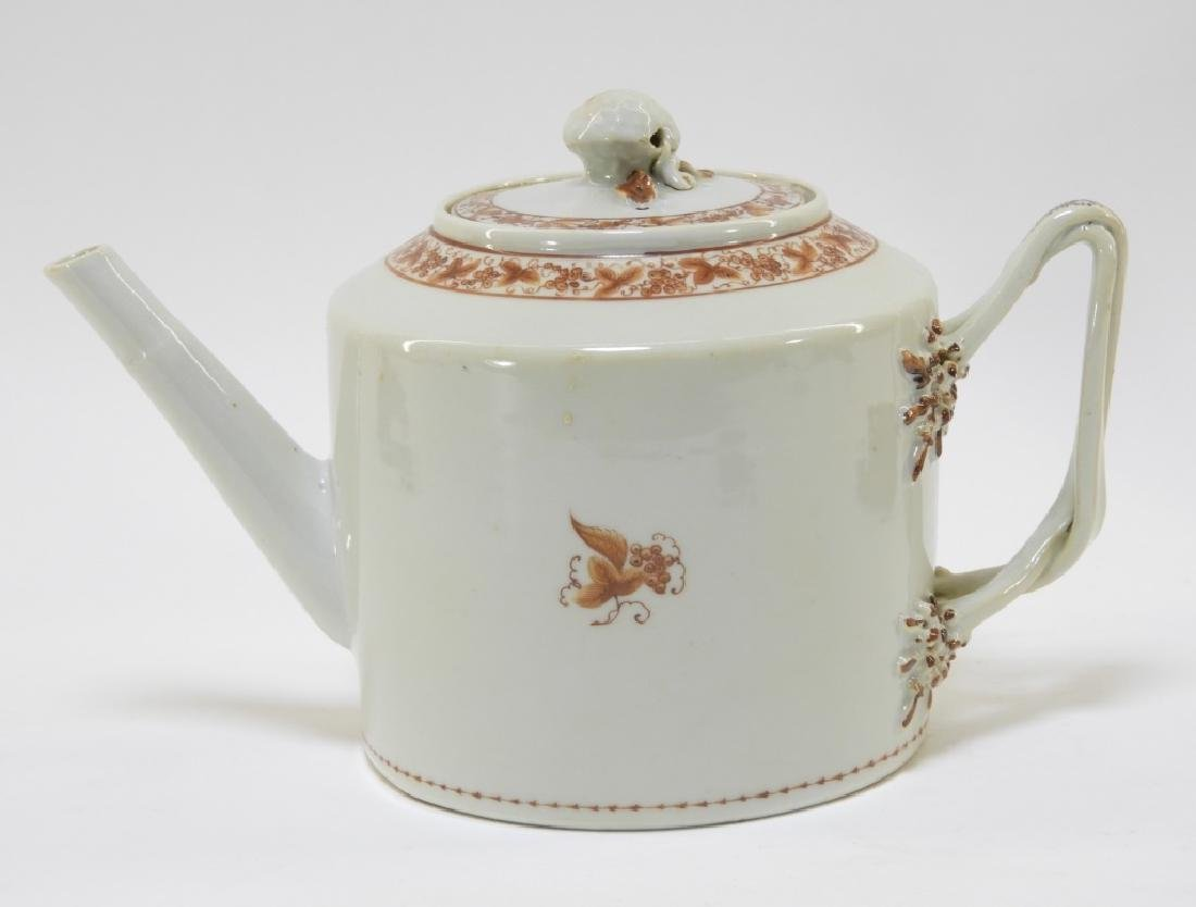 Chinese Sepia Export Porcelain Tea Leaf Teapot