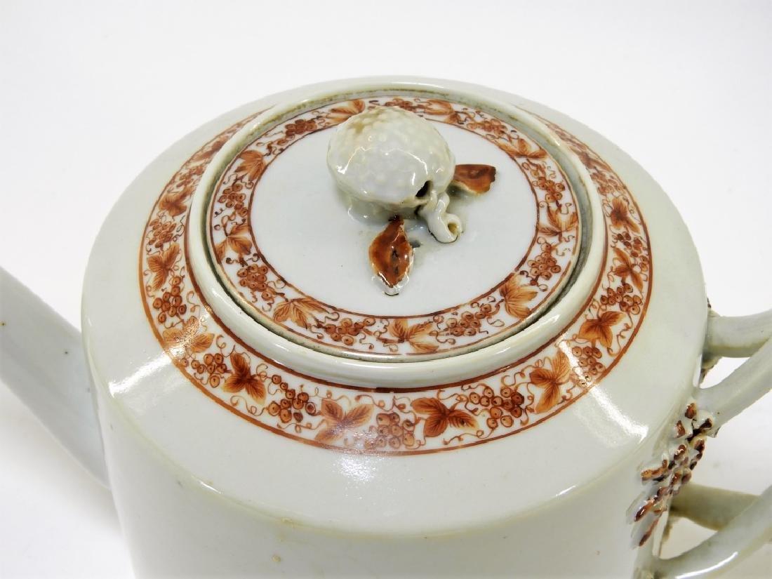 Chinese Sepia Export Porcelain Tea Leaf Teapot - 2