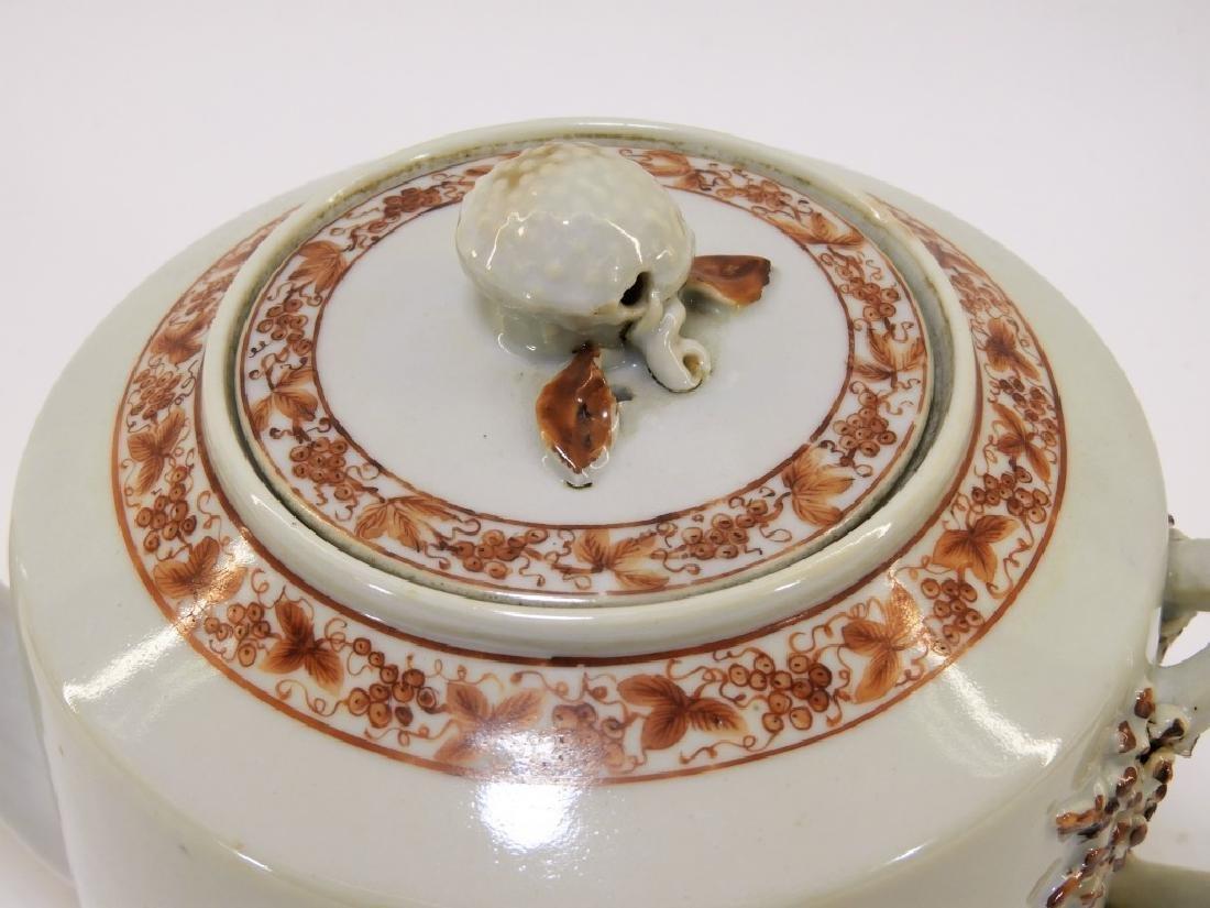 Chinese Sepia Export Porcelain Tea Leaf Teapot - 3