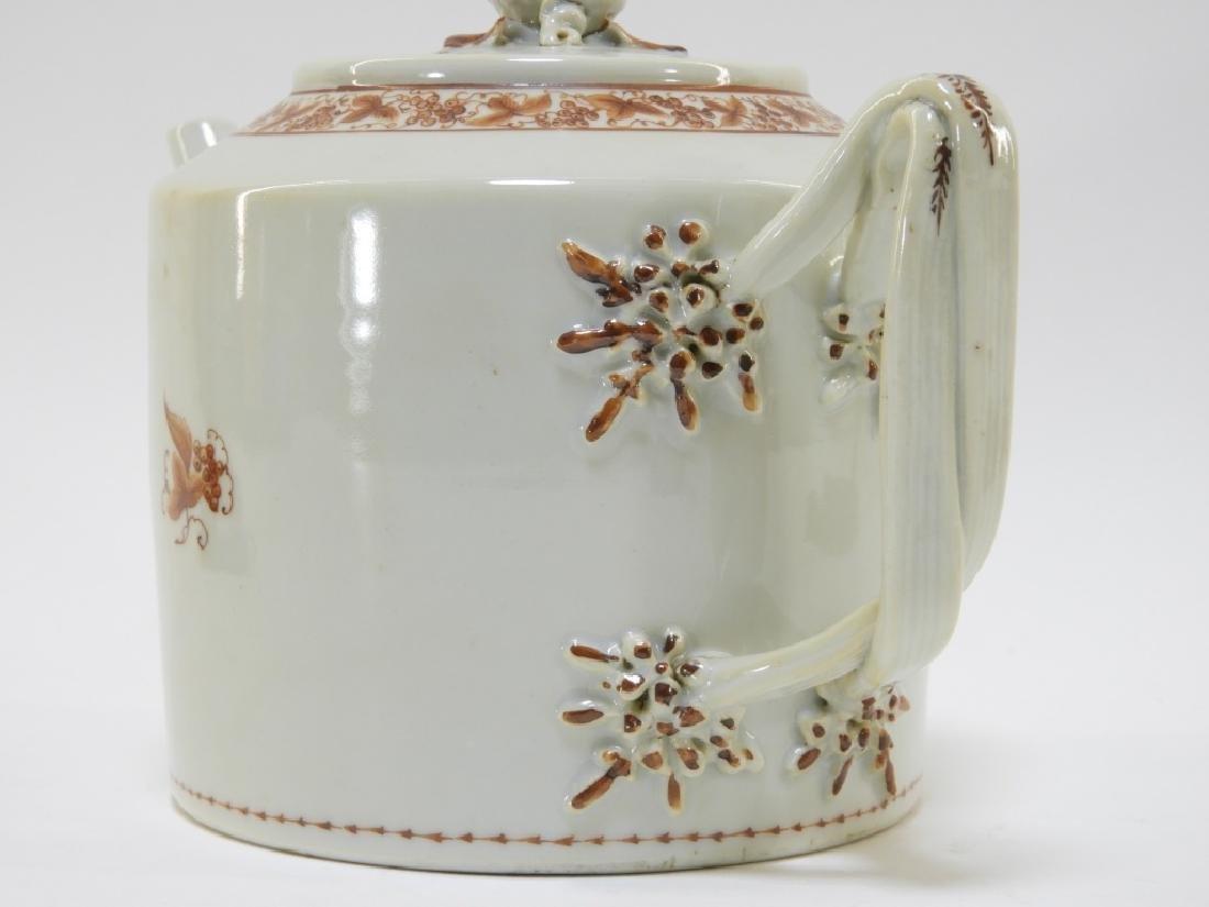 Chinese Sepia Export Porcelain Tea Leaf Teapot - 4