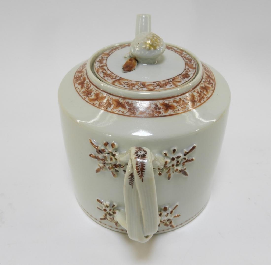 Chinese Sepia Export Porcelain Tea Leaf Teapot - 8