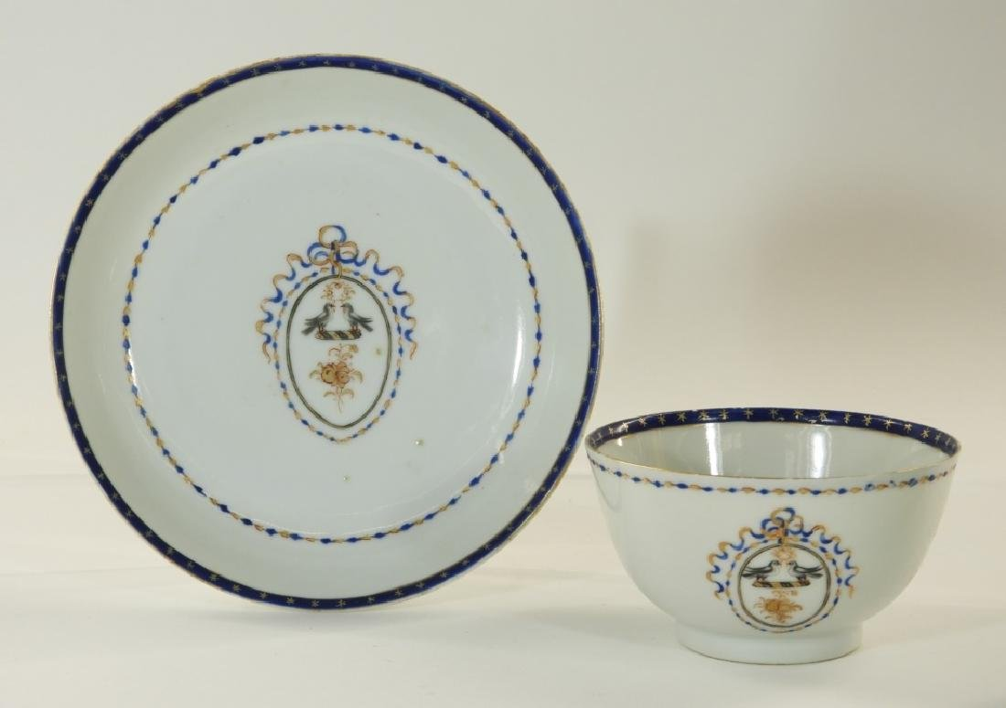 Chinese Export Porcelain Armorial Cup & Saucer