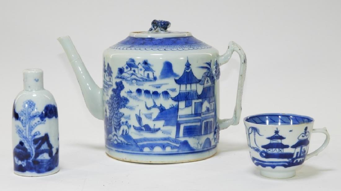 3PC Chinese Blue & White Export Porcelain Articl