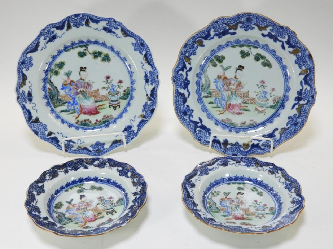 Group Chinese Export Porcelain Court Garden Plates