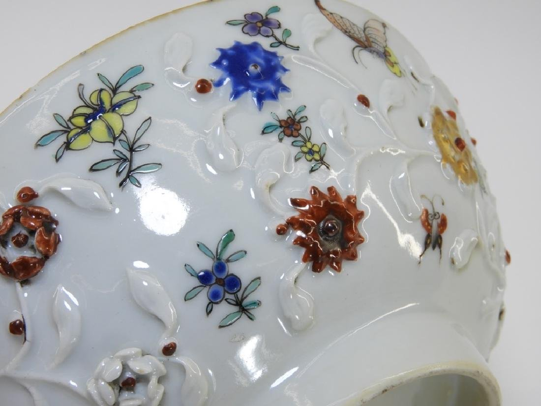 Chinese Export Porcelain Applied Relief Bowl - 4