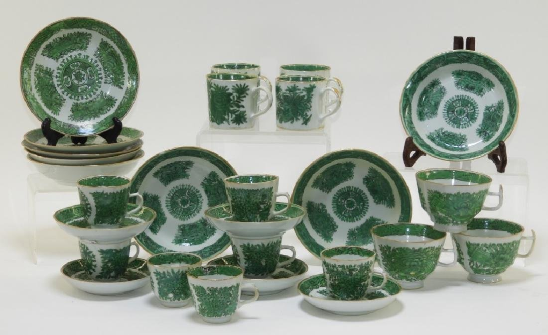 27 Chinese Export Green Fitzhugh Porcelain Article