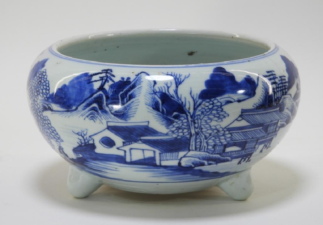 Chinese Blue & White Export Porcelain Censer Bowl
