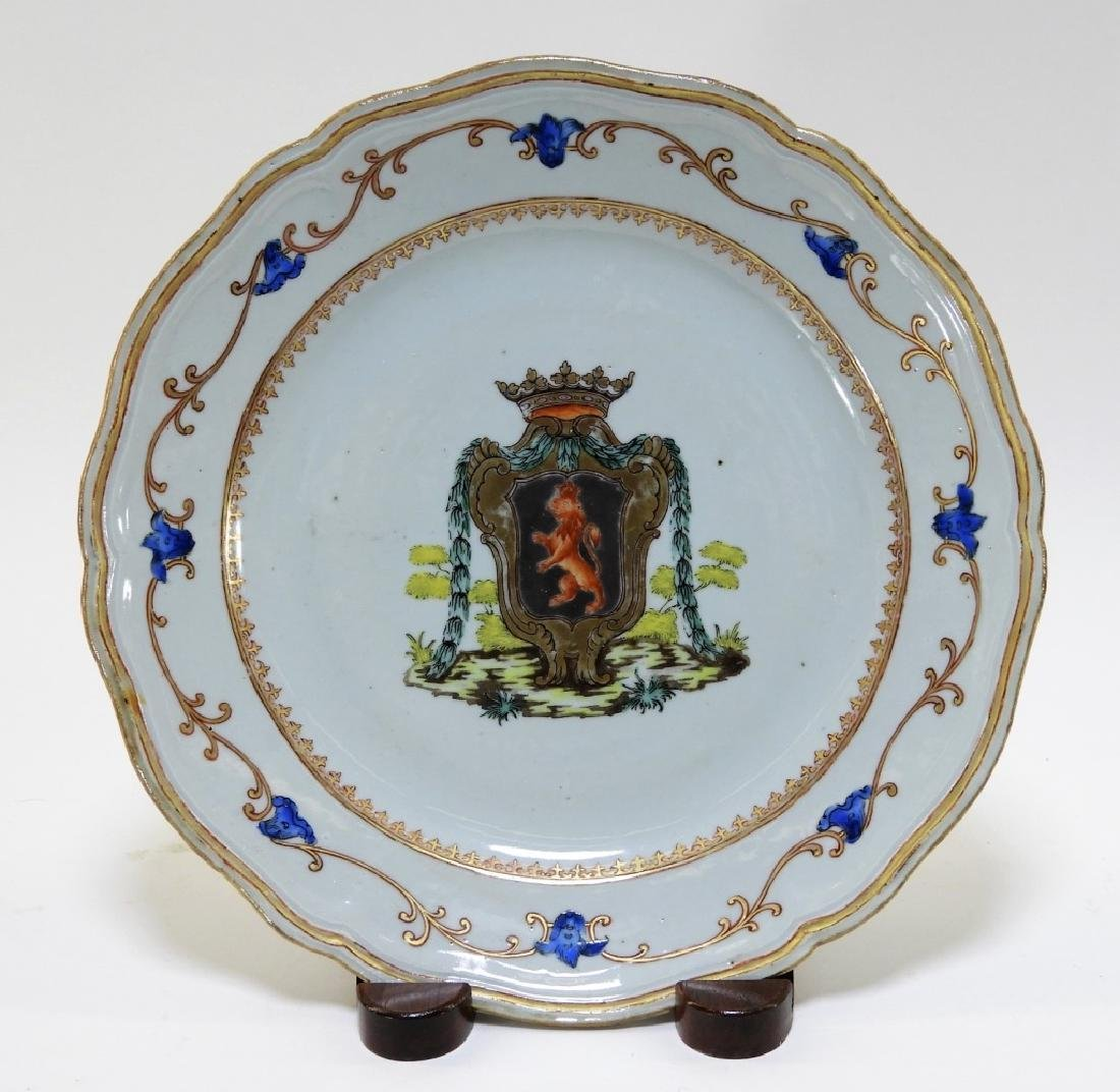 Chinese Export Armorial Porcelain Lion Crest Plate