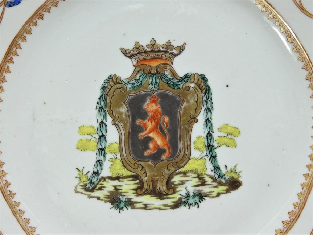 Chinese Export Armorial Porcelain Lion Crest Plate - 2