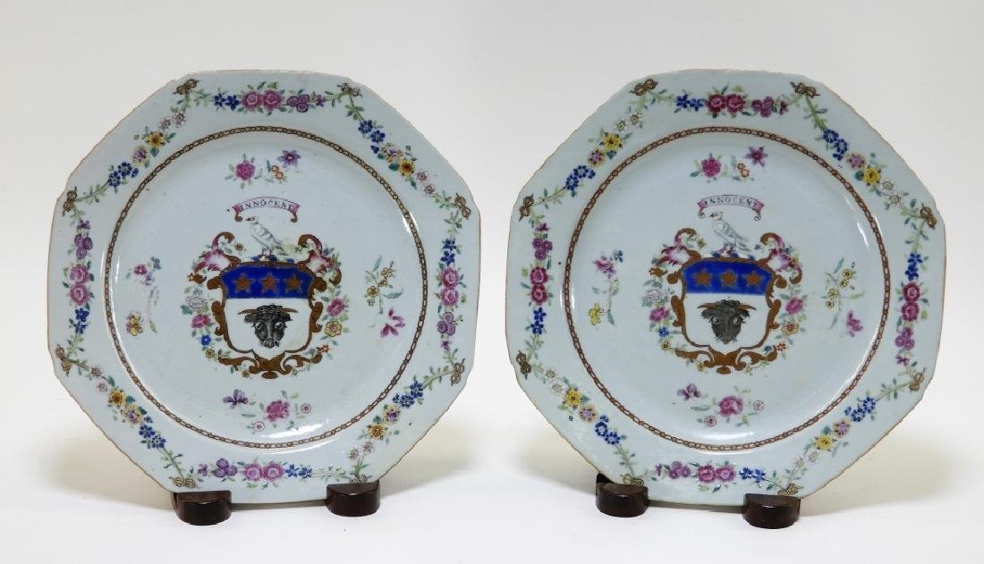 PR Chinese Export Porcelain Armorial Bull Plates