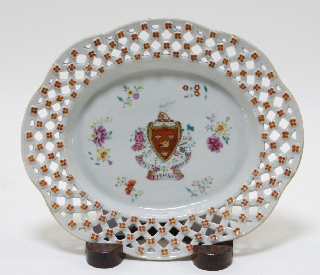C.1750 Chinese Export Armorial Reticulated Platter