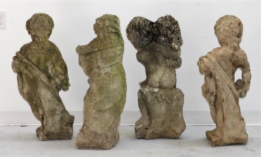 Set 4 Architectural Garden Cement Putti Sculptures - 6