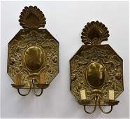 PR European Repousse Brass Electrified Sconces