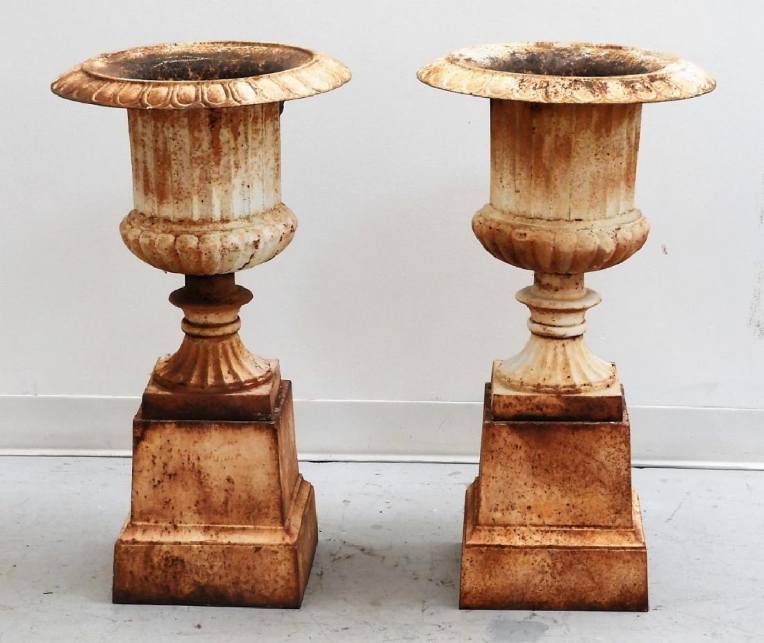 PR American Cast Iron Pedestal Garden Urn