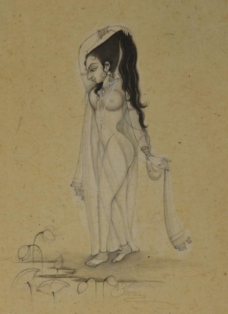 Indian Miniature Painting of Naked Female Beauty