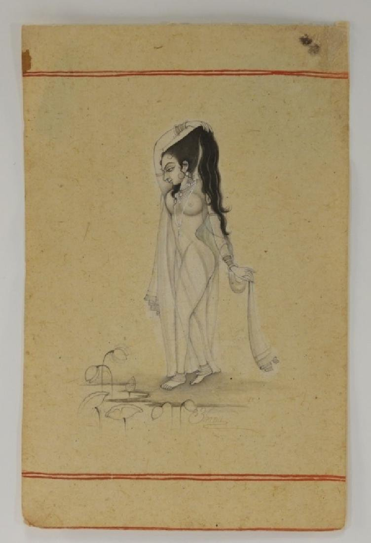 Indian Miniature Painting of Naked Female Beauty - 2