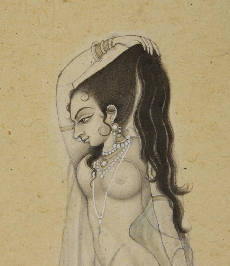 Indian Miniature Painting of Naked Female Beauty - 3