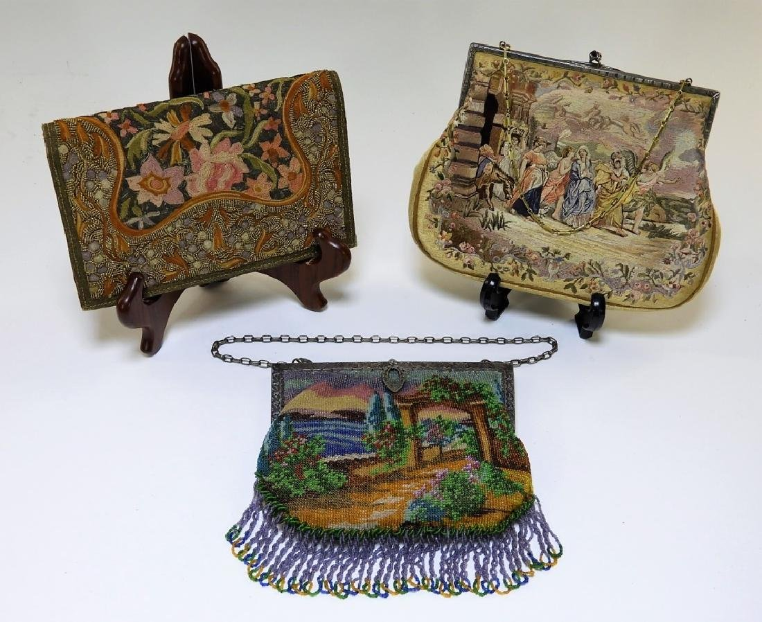 3 FINE Sterling Beaded Needlepoint Lady's Purses