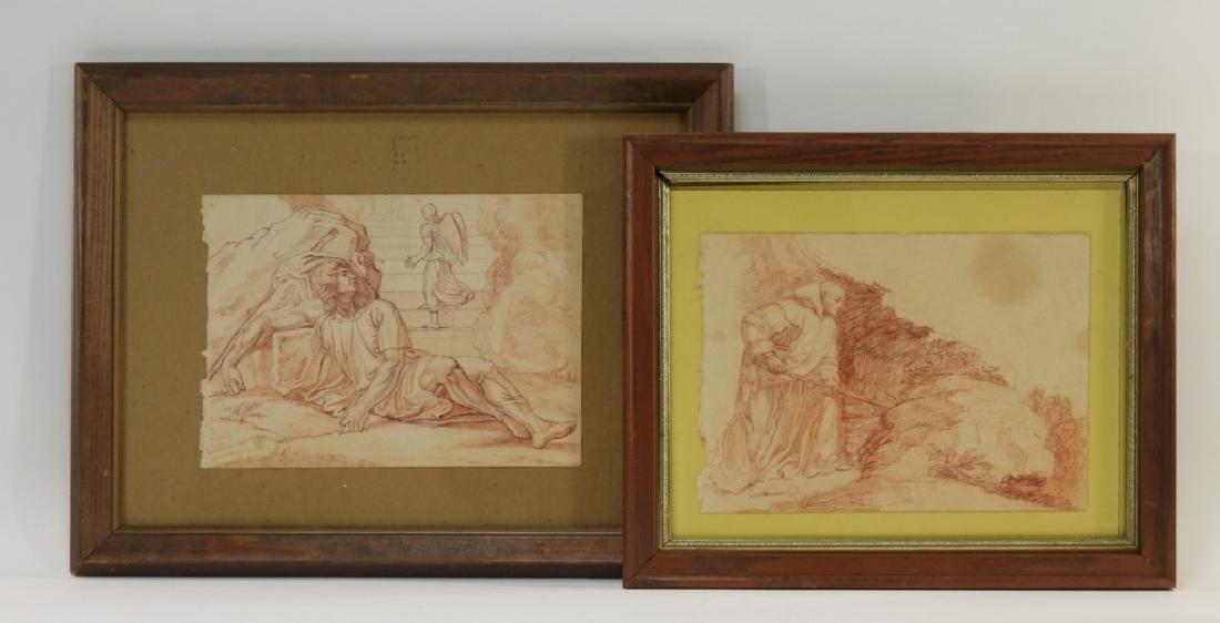 2 19C Renaissance Revival Old Master Sepia Drawing
