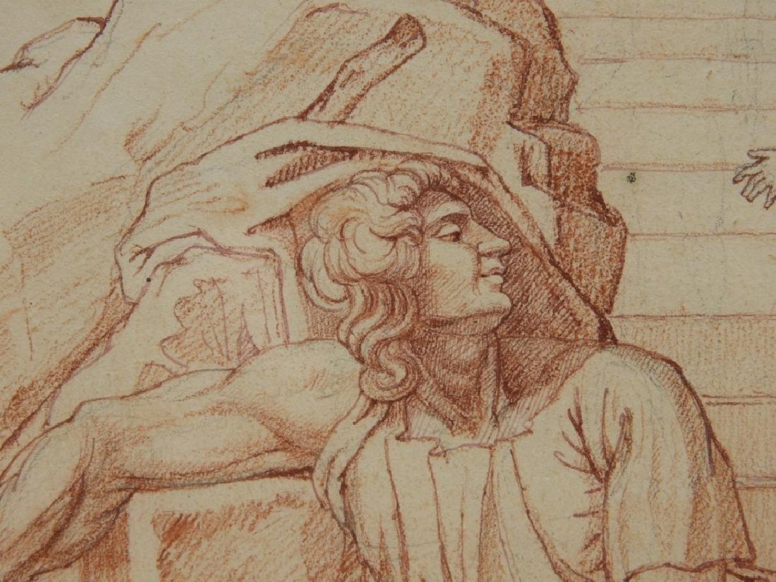 2 19C Renaissance Revival Old Master Sepia Drawing - 3