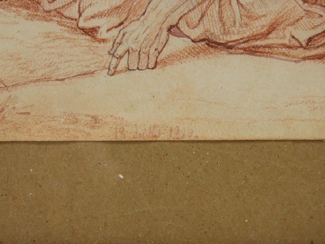 2 19C Renaissance Revival Old Master Sepia Drawing - 5