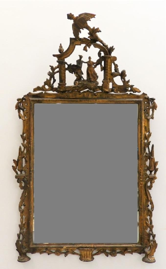 18C French Chinoiserie Carved Gilt Wood Mirror