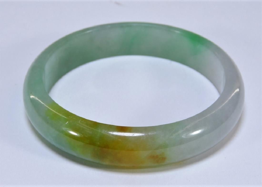 19C. Chinese Celadon Russet Jade Bangle Bracelet