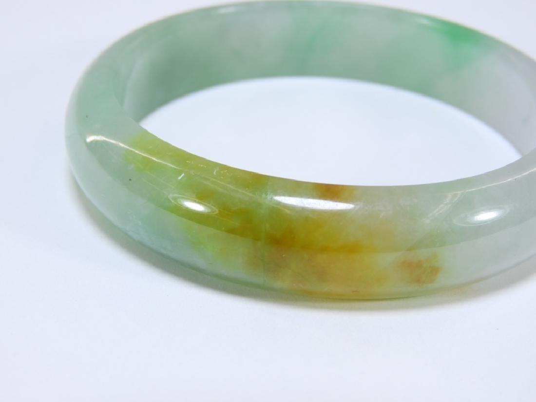 19C. Chinese Celadon Russet Jade Bangle Bracelet - 2