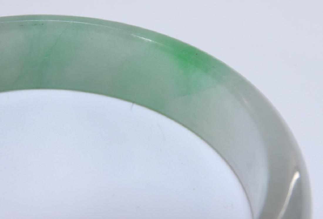 19C. Chinese Celadon Russet Jade Bangle Bracelet - 3